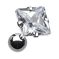 Square CZ Prong Set Surgical Steel Cartilage Piercing Stud Earring