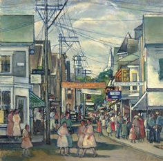 """Provincetown Procession,"" Nancy Maybin Ferguson, oil on board, 12 x 12"", private collection."