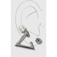 Topshop Pearl and Rhinestone Ear Hug ($3.88) ❤ liked on Polyvore featuring jewelry, earrings, silver, topshop jewelry, pearl earrings, rhinestone earrings, rhinestone jewelry and pearl jewellery