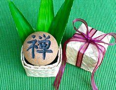 "Aloha Zen Rock with Hawaiian Lauhala gift box, Japanese Incense burner, Zen, Stone, Awake, Health, Holiday Good-luck gift, 2""D x 1 1/2""H by AumakuaPottery on Etsy"