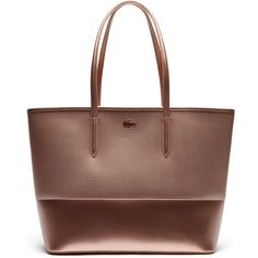 Lacoste Women's Chantaco Christmas Leather Tote - Medium Format ($268) ❤ liked on Polyvore featuring bags, handbags, tote bags, bags bags, leather goods, leather purses, leather handbags, metallic tote bag, leather totes and brown leather handbags