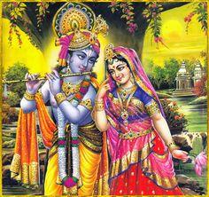 "✨ RADHA KRISHNA ✨ ""O dark-complexioned Krishna, O moon of Gokula, O lover of the gopis, O golden-complexioned Radha, O crest jewel of the gopis who are so dear to Krishna, when I hear the glories of Your transcendental virtues my heart becomes..."