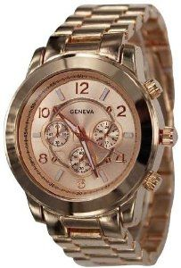 839-rg Rose Gold Chronograph Unisex Boyfriend Style Designer Metal Link Watch,