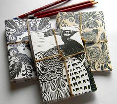 #lino #print #blank #cards #bird