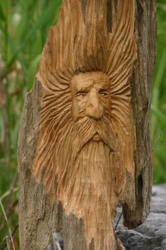 Wood Spirit Wood Carving Wood Sculpture by CaygeonWoodSpirits, $75.00