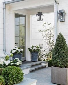 The front door. Beautiful modern farmhouse style exterior inspiration on Hello Lovely Studio Modern Farmhouse Exterior, Modern Farmhouse Style, Farmhouse Front, Rustic Farmhouse, Front Porch Plants, Design Exterior, Door Design, Front Entrances, Porch Decorating