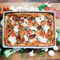 Sheet Pan Sicilian Pizza Recipe - Sheet Pan Sicilian style pizza recipe is homemade in a sheet pan to help feed the whole family! It's delicious made up of homemade dough, cheeses and toppings and it's incredibly easy to make. Healthy Grilling Recipes, Healthy Meals For One, Pizza Recipes, Vegetarian Recipes, Sicilian Pizza Recipe, Sicilian Style Pizza, Healthy Vegan Breakfast, Thing 1, Sheet Pan