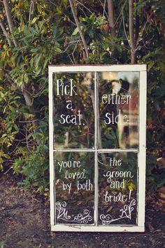 (Foto 10 de 10) Mensaje para los invitados escrito en una ventana reutilizada, Galeria de fotos de 10 formas distintas de introducir frases o mensajes en tu boda