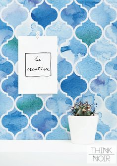 Watercolour Moroccan Pattern Removable Wallpaper / by ThinkNoir