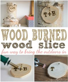 DIY Home Decor ~ Do you love decor that brings the outdoors in? This wood slice centerpiece is simple to make and personalize with an inexpensive wood burning tool.