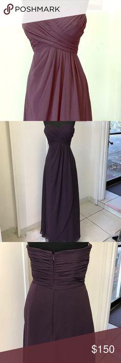 Plum Chiffon Gown Chiffon drape overlay, straight skirt, back center zipper Dresses Strapless