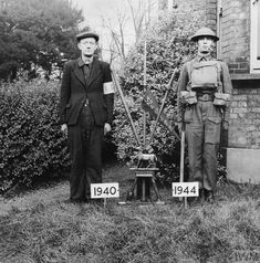 The London Home Guard: Photograph contrasting a 1940 Local Defence volunteer with a 1944 Home Guard. Both were members of 32 Surrey Battalion. Dad's Army, Army & Navy, Home Guard, British Home, Stand Down, British Government, War Photography, Military Service, World War Two