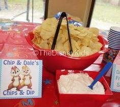 We served Chip & Dales Chips & Dip at our Mickey Mouse Clubhouse themed party. For more information on our party please visit ww. Mickey Mouse Clubhouse Birthday Party, Mickey Mouse 1st Birthday, Mickey Mouse Parties, Mickey Party, Mickey Mouse Food, 2nd Birthday, Birthday Ideas, Disney Party Foods, Disney Themed Food
