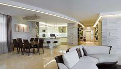 Cucina e soggiorno open space - Zona giorno bianca e nera