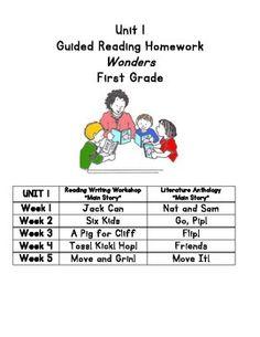 McGraw-Hill Reading Wonders First Grade Homework (Unit 1