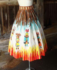 "1950s ""Katchina Fire Dance"" circle skirt"