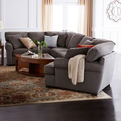 Fabric Possibilities Roll-Arm 3-pc. Left-Arm Corner Sofa Sectional ($2,230) ❤ liked on Polyvore featuring home, furniture, sofas, fabric corner sofa, upholstered sectional, fabric sectionals, colored furniture and upholstered chaise