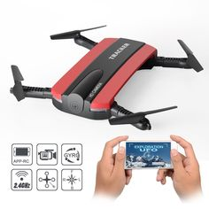 JXD 523W Foldable RC Quadcopter Mini FPV Drone with HD Camera Live Video,Mini Selfie Pocket Drone, 2.4G 6-Axis Altitude Hold App Controlled Aircraft Successory.