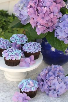 Cool Cupcake Decorating Ideas - Hydrangea Cupcakes - Easy Ways To Decorate Cute, Adorable Cupcakes - Quick Recipes and Simple Decorating Tips With Icing, Candy, Chocolate, Buttercream Frosting and Fruit - Best Party and Birthday Party Ideas for Kids and Adults http://diyjoy.com/cupcake-decorating-ideas
