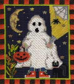 Ghostly Treater from Kelly Clark. Needlepoint Stitch Guide available. Image & guide copyright Napa Needlepoint.