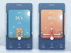 Weather app inspiration – Muzli -Design Inspiration