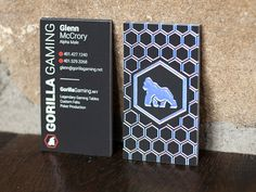 Business card printed on our velvet paper with holographic raised foil for Gorilla Gaming. The foil changes colors and reflects the lighting with every movement.