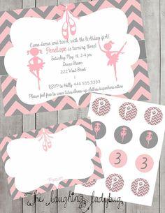 Ballet birthday party set printable birthday by TheLaughingLadybug, $25.00