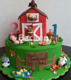 Animales de la granja Hubby Birthday, 4th Birthday Parties, 2nd Birthday, Birthday Cakes, Petting Zoo Birthday Party, Animal Birthday, Farm Cake, Farm Party, Farm Theme