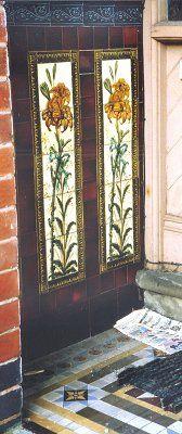 Victorian floral tiles porch in Wolverhampton Victorian Porch, Victorian Tiles, Antique Tiles, Exterior Wall Tiles, Minton Tiles, Art Nouveau Tiles, Wolverhampton, Terracotta, Ceramics
