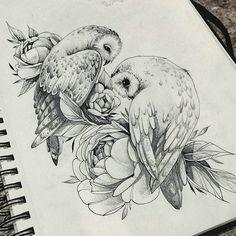 e 交 tatouage oiseau oiseau hibou chouette hibou couple floral - art . Owl Tattoo Drawings, Bird Drawings, Tattoo Sketches, Animal Drawings, Drawing Sketches, Tattoo Owl, People Drawings, Easy Drawings, Pencil Drawings