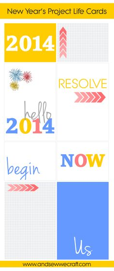 Eight Project Life free printable cards to celebrate the New Year and to bring in 2014 with colour and cheer!