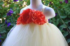 Ivory Tutu Dress with Coral Peony Flowers Girls Dress
