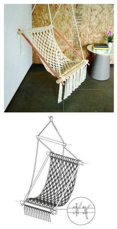 This DIY Hanging Macrame Chair is beautiful and elegant, which lasts for years to come. It complements any setting for cozy resting spot. Macrame Chairs, Macrame Wall Hanging Diy, Macrame Curtain, Chaise Diy, Diy Hammock, Crochet Hammock, Hammock Swing, Chair Hammock Diy, Hammocks