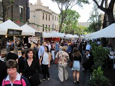 The Rocks, a shopping district in Sydney is  forever bustling with enthusiastic shoppers.