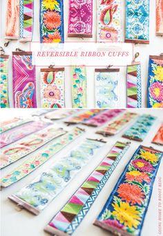 diy reversible ribbon cuffs tutorial ribbons, craft idea, diy revers, diy idea, ribbon cuff, inspir diy, cuff bracelets, ribbon bracelets, revers ribbon