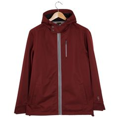 Roamers & Seekers Wanderlust Barolo Red Hooded Jacket: Wanderlust, a hip length, red hooded jacket with a micro finishing face, which as well as being silky to touch, it also repels water. The shell is bonded to a mesh lining that acts as a wind shield and also allows ventilation. Adjustable storm flap at the neck, adjustable bungees and snap tabs at the cuffs give you the extra protection you need when battling the elements. Finishing inside with woven tape, adds quality to this easy to…