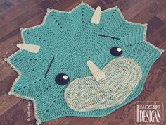 The Triceratops Dino Rug - Paid Pattern