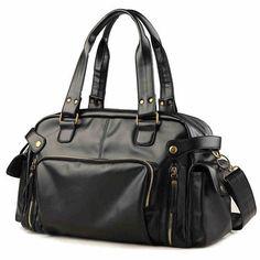 fd0a32866f37 Top Leather Men travel bag large High quality duffel bag Business handhag  vintage men s crossbody shoulder messenger Laptop bag