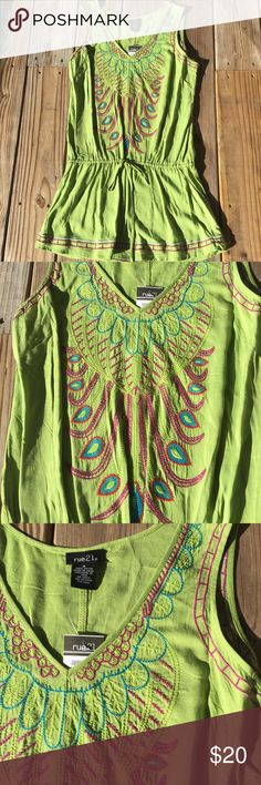 NEW! Rue 21 Embroidered Lime Green Tunic Small NEW with tags!  Rue 21 Embroidered Sleeveless Tunic Shirt  Drawstring waist Color: Lime Green Size: Small Rue 21 Tops Tunics