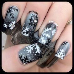 snowflakes by _gems09_ #nail #nails #nailart: