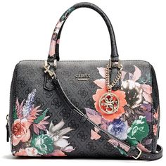 GUESS Linea Floral-Print Logo Box Satchel ( 118) ❤ liked on Polyvore  featuring 3dfdc583778