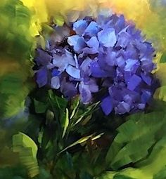 """St Louis Blues - Hydrangeas and a Workshop by Nancy Medina"" - Original Fine Art for Sale - � Nancy Medina"