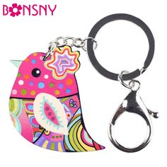 Enamel Acrylic Bird Marvel Alloy Key Chain For Women Girl Bag Keychain Ring Charm Pendant Jewelry Aceessorie