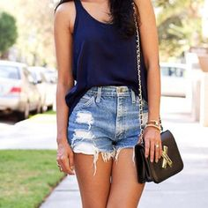high wasted shorts & plain tank