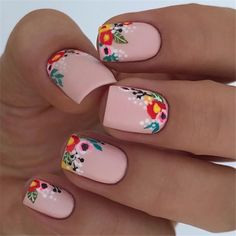 37 Spring Elegant Sqaure Matte Nails Design Ideas Matte nails are easy to polish, you don't have to be an artist or do complex designs to make beautiful nail art. 37 Spring Elegant Sqaure Matte Nails that you need to see. Spring Nail Art, Nail Designs Spring, Nail Art Designs, Nails Design, Flower Nail Designs, Cute Spring Nails, Spring Nail Colors, Spring Makeup, Cute Nails