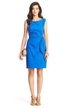 DVF New Della Ruched Sheath Dress In Blue Diamond  // 375