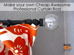 This link has better instructions on how to make a cheap, awesome, professional Curtain Rod