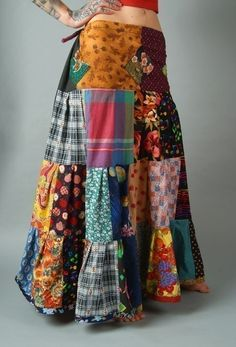 Patchwork tiered spin skirt by ChopstixWaits on Etsy, $96.00  Have mercy on the eyes.