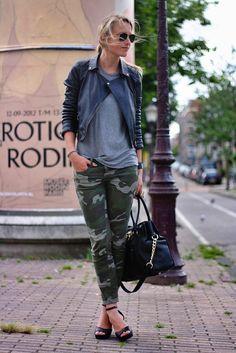 Camouflage Print Pants & Zara Leather Jacket