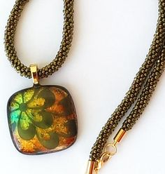 Fused Glass Rainbow Pendant on a Kumihimo Cord by FusionBloom